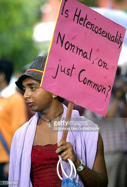"""An Indian activist of human rights and sexual freedom takes part in a march entitled the """"Rainbow Pride Walk"""" in Kolkata, 25 June 2006. The march..."""
