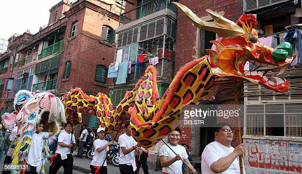 Chinese boys take part in the Dragon Rally on the eve of the Chinese New Year which ushers in the Year of the Dog in Kolkata 29 January 2006 The...