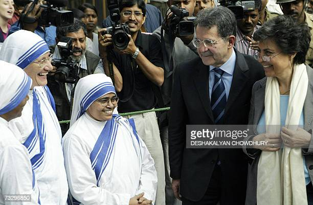 Italian Prime Minister Romano Prodi and his wife Flavia Franzoni meet nuns of Mother Teresa's Missionaries of Charity order upon their arrival at...