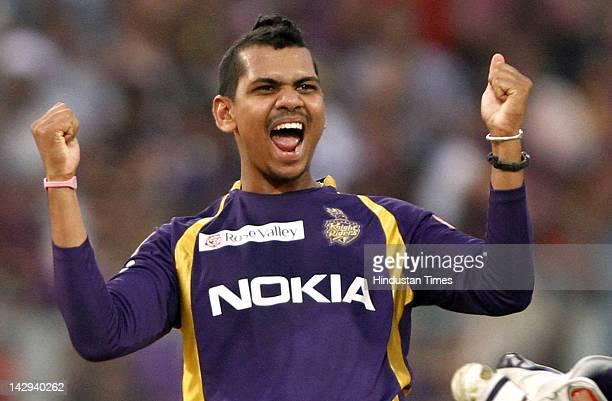 Kolkata Knight Riders bowler Sunil Naraine celebrating after dismissal of Kings XI Punjab batssman Praveen Kumar during the IPL 5 cricket match...