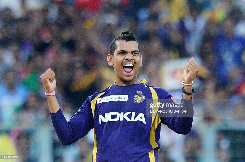 Kolkata Knight Riders bowler Sunil Narin : Fotografía de noticias