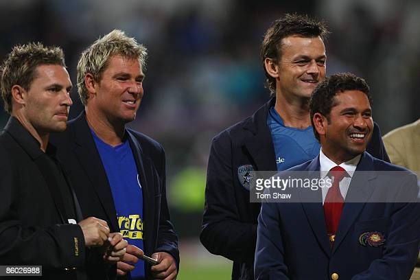 Kolkata Knight Riders captain Brendan McCullum Rajasthan Royals captain Shane Warne Deccan Chargers captain Adam Gilchrist and Mumbai Indians captain...