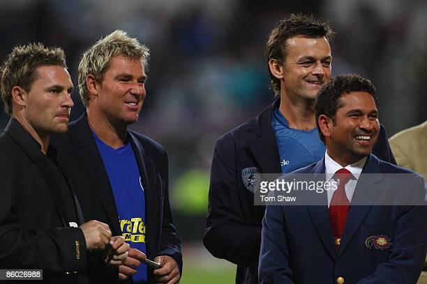Kolkata Knight Riders captain Brendan McCullum Rajasthan Royals captain Shane Warne Deccan Chargers captain Adam Gilchrist and Mumbai Indians captain...
