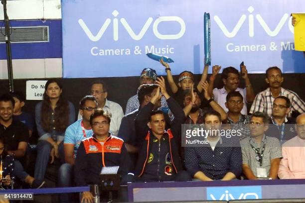 Kolkata Owner Akshay Kumar claps at the Pro Kabaddi Lucknow v Kolkata at Netaji Indoor Stadium on September 022017 in Kolkata India