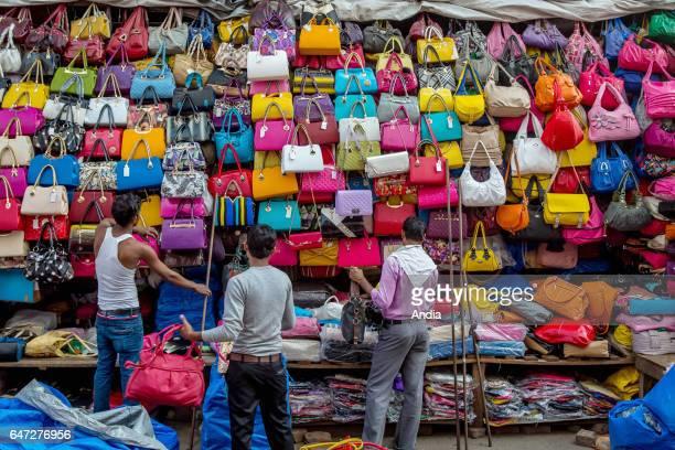 stall of multicolored handbags