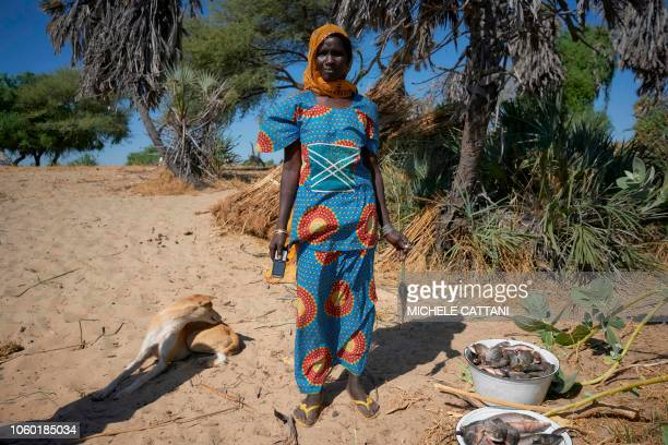 Kolle Chulum a fish dealer poses with a smartphone on the banks of Lake Chad on November 8 2018 Fishing represents the main source for the Chadian...