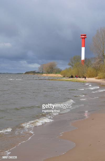 Kollmar lighthouse on the Elbe river, Schleswig-Holstein Germany