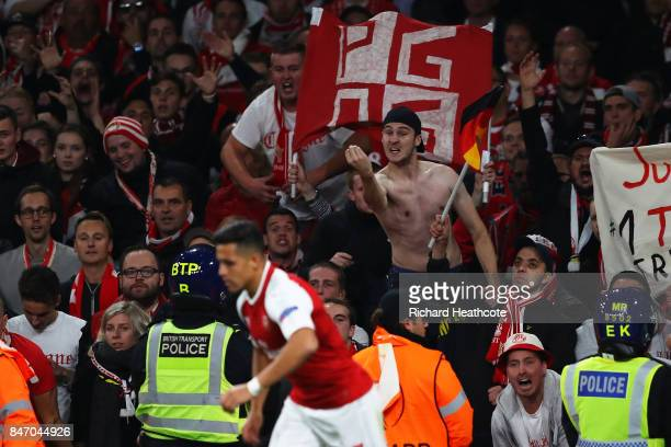 Koln Fan gestures at Alexis Sanchez of Arsenal during the UEFA Europa League group H match between Arsenal FC and 1 FC Koeln at Emirates Stadium on...