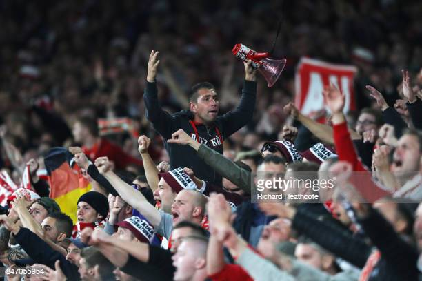 Koln Fans during the UEFA Europa League group H match between Arsenal FC and 1 FC Koeln at Emirates Stadium on September 14 2017 in London United...