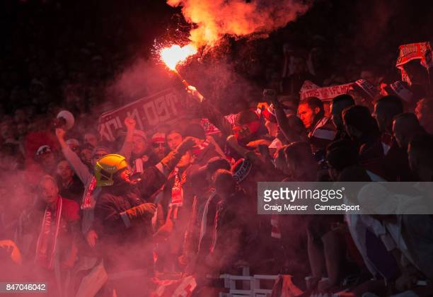 Koln fans light flares during the UEFA Europa League group H match between Arsenal FC and 1 FC Koeln at on September 14 2017 in London England