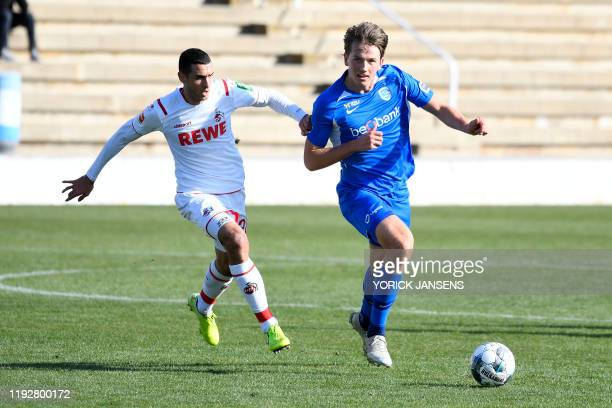 Koln's Ellyes Skhiri and Genk's Sander Berge fight for the ball during a friendly soccer match between KRC Genk and German club FC Koln during their...