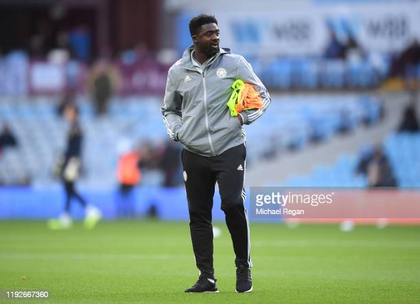 Kolo Toure, First Team Coach of Leicester City looks on during the warm up prior to the Premier League match between Aston Villa and Leicester City...