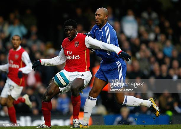 Kolo Toure of Arsenal and Nicolas Anelka of Chelsea during the Premier League soccer match between Chelsea and Arsenal
