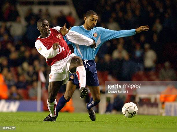 Kolo Toure of Arsenal battles with Matt Piper of Sunderland during the Worthington Cup Third Round match between Arsenal and Sunderland on November 6...