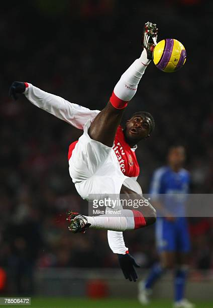Kolo Toure of Arsenal clears the ball during the Barclays Premier League match between Arsenal and Chelsea at the Emirates Stadium on December 16...