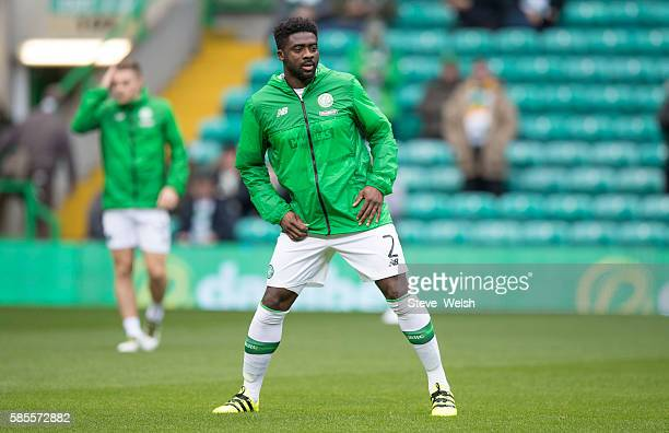 Kolo Toure of Celtic during his prematch warm up before the UEFA Champions League Third Round Second Leg between Celtic and Astana at Celtic Park on...