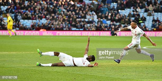 Kolo Toure of Liverpool celebrates after scoring the sixth goal for Liverpool during the Barclays Premier League match between Aston Villa and...