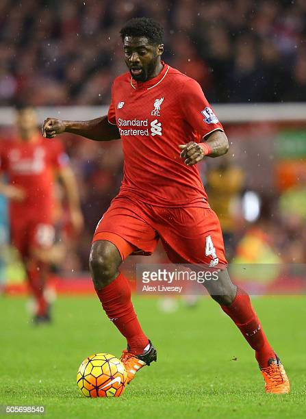 Kolo Toure of Liverpool controls the ball during the Barclays Premier League match between Liverpool and Arsenal at Anfield on December 13 2016 in...