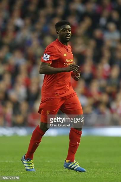 Kolo Toure of Liverpool looks on during the Barclays Premier League match between Liverpool and Chelsea at Anfield on May 11 2016 in Liverpool England