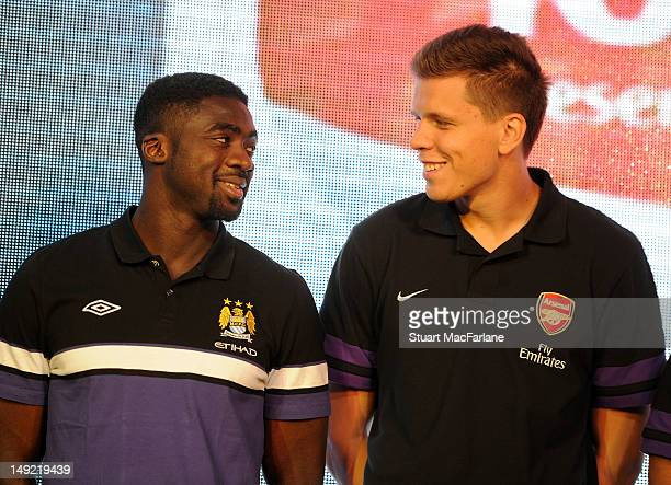 Kolo Toure of Manchester City and Wojciech Szczesny of Arsenal attend a charity dinner in Beijing ahead of their preseason friendly match on July 25...