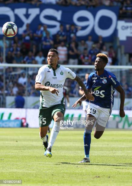 Kolodziejczak Thimothee 5 and Da Costa Joia Nuno 29 during the French L1 football match between Strasbourg and SaintEtienne on August 19 2018 at the...