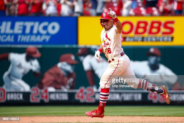 Kolten Wong of the St Louis Cardinals celebrates after hitting a walkoff home run against the Pittsburgh Pirates in the ninth inning at Busch Stadium...
