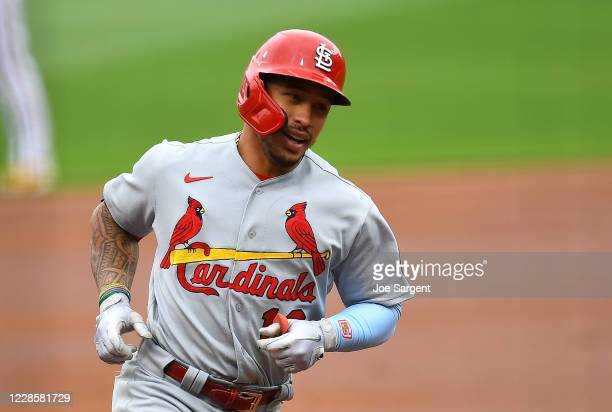Kolten Wong of the St. Louis Cardinals celebrates his solo home run during the first inning of game one of a doubleheader against the Pittsburgh...