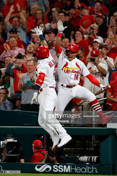 Kolten Wong of the St Louis Cardinals congratulates Yadier Molina of the St Louis Cardinals after Molina hit a tworun home run against the Los...