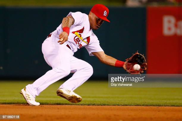 Kolten Wong of the St Louis Cardinals fields a ground ball against the San Diego Padres in the ninth inning at Busch Stadium on June 11 2018 in St...