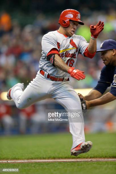 Kolten Wong of the St Louis Cardinals gets tagged by out Wily Peralta of the Milwaukee Brewers while running to first base in the top of the third...