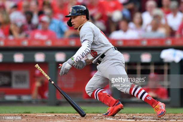 Kolten Wong of the St Louis Cardinals hits a single in the second inning against the Cincinnati Reds at Great American Ball Park on July 19 2019 in...
