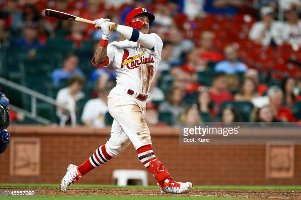 Kolten Wong of the St Louis Cardinals hits a threerun home run during the seventh inning of game two of a doubleheader against the Kansas City Royals...