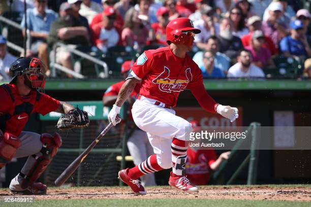 Kolten Wong of the St Louis Cardinals hits the ball against the Boston Red Sox during a spring training game at Roger Dean Chevrolet Stadium on March...