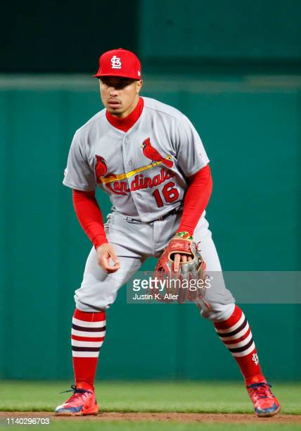 Kolten Wong of the St Louis Cardinals in action against the Pittsburgh Pirates at PNC Park on April 3 2019 in Pittsburgh Pennsylvania