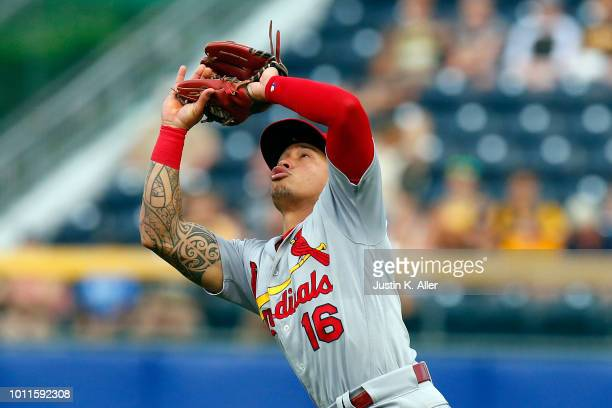 Kolten Wong of the St Louis Cardinals makes a catch in the seventh inning against the Pittsburgh Pirates at PNC Park on August 5 2018 in Pittsburgh...
