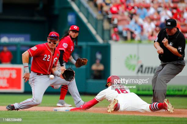 Kolten Wong of the St. Louis Cardinals steals second base against Derek Dietrich of the Cincinnati Reds in the fourth inning during game one of a...
