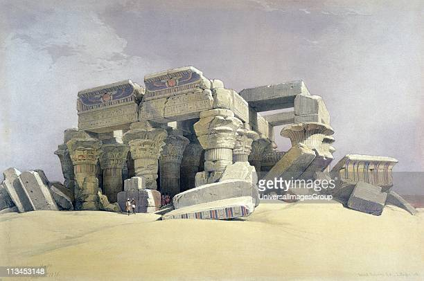 Kom Ombo' November 1838 Lithograph of 1856 after David Roberts Scottish artist and orientalist Temple on Nile 30 miles north of Aswan Egypt built 332...