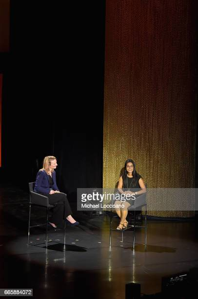 Komal Dadlani and Alyse Nelson speak during the Eighth Annual Women In The World Summit at Lincoln Center for the Performing Arts on April 7 2017 in...