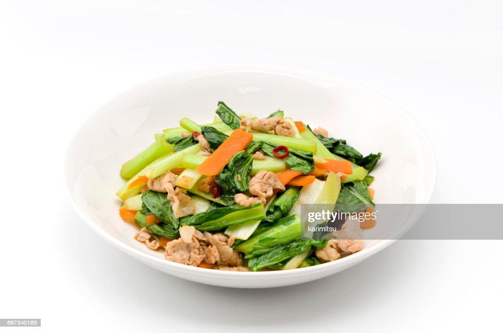 Komatsuna and pork stir fried : Stock Photo