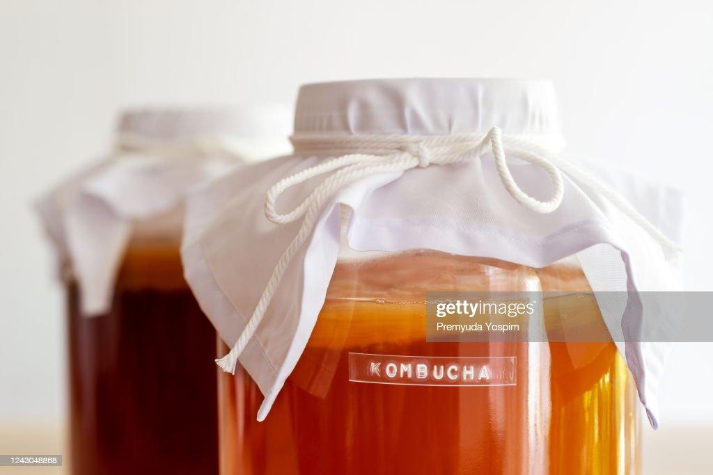 Kombucha healthy natural probiotic in a glass jar. : Stock Photo