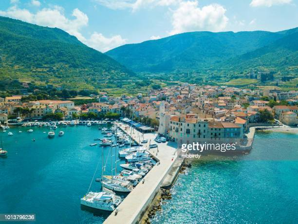 komiža town on island vis, dalmatia, croatia - croatia stock pictures, royalty-free photos & images