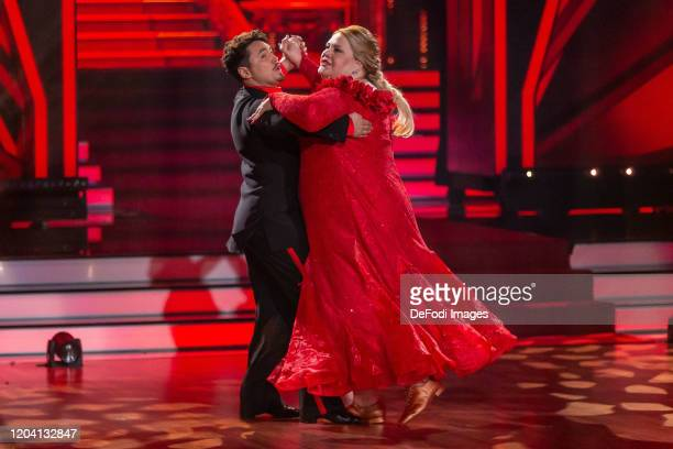 Komikerin Ilka Bessin and Erich Klann looks on during the 1st show of the 13th season of the television competition Let's Dance on February 28 2020...