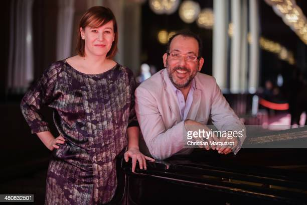 Komische Oper Chef Director and Intendant Barrie Kosky and Komische Oper Executive Director Susanne Moser pose ahead of a 'Spielzeit 2014/15' press...
