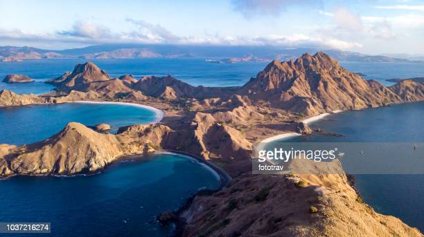 komodo national park - padar island - indonesia - indonesia stock photos and pictures