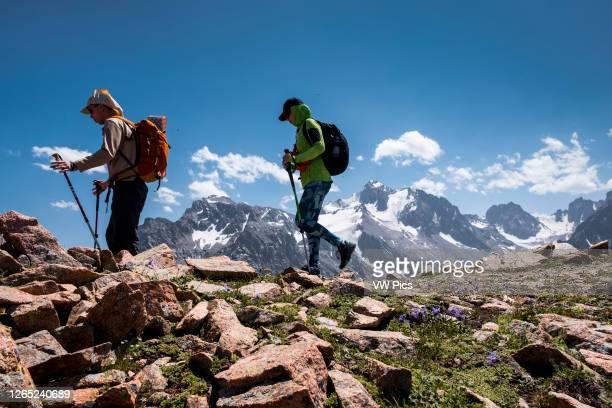 Komsomola glacier and peak in Zailiysky Alatau Range from the biggest Tian Shan Range in Kazakhstan.