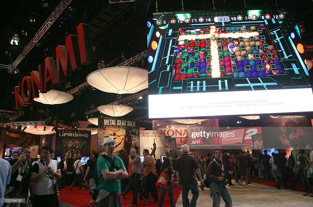 Konami presents their new games at the 2010 E3 Expo in Los Angeles, on June 16, 2010. Typically a stage for new blockbuster titles, the Electronic Entertainment Expo (E3) this year will also be an arena where Sony, Microsoft and Nintendo duel with motion-sensing controls for rival PlayStation 3, Xbox 360, and Wii consoles.