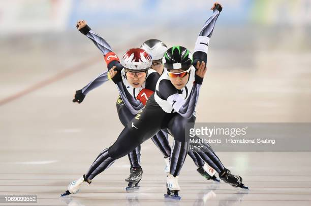 Konami Soga Maki Tsuji and Nao Kodaira of Japan compete during the Women's Team Sprint on day three of the ISU World Cup Speed Skating at Meiji...