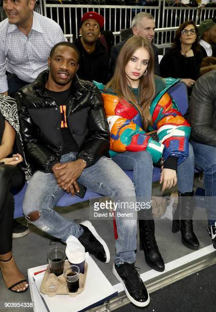 Konan and Xenia Tchoumi attend the Philadelphia 76ers and Boston Celtics London game at The O2 Arena on January 11 2018 in London England