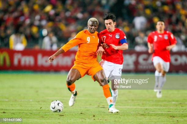 Kone Arouna of Ivory Coast and Ahmed Hassan of Egypt during the 2006 Africa Cup of Nations Final match between Egypt and Ivory Coast at Cairo...