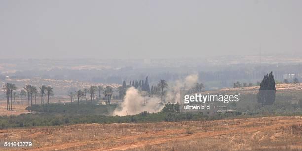Konflikt Israel-Palästina - Israelische Granaten landen im Norden von Gaza. Die israelische Armee versucht mit Granaten militante Palaestinenser am...